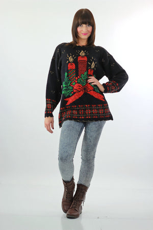 Holiday sweater Christmas Noel Black Chunky Knit Caroling Candle Print  80s Vintage metallic long sleeve Medium large - shabbybabe  - 2