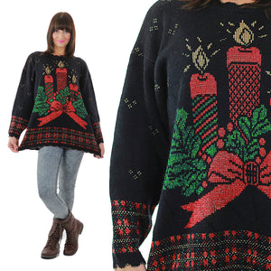 Holiday sweater Christmas Noel Black Chunky Knit Caroling Candle Print  80s Vintage metallic long sleeve Medium large - shabbybabe  - 1