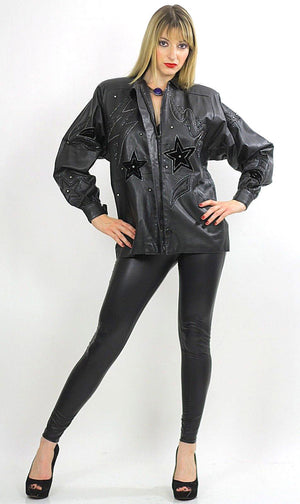 80s Rocker sequin leather jacket Rockstar Black hipster - shabbybabe  - 3