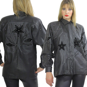 80s Rocker sequin leather jacket Rockstar Black hipster - shabbybabe  - 5