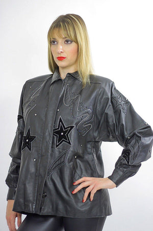 80s Rocker sequin leather jacket Rockstar Black hipster - shabbybabe  - 1