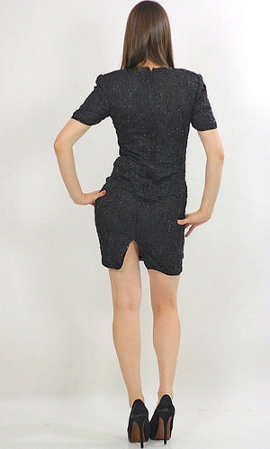 80s Deco Gatsby Black sequin beaded party mini dress S - shabbybabe  - 3