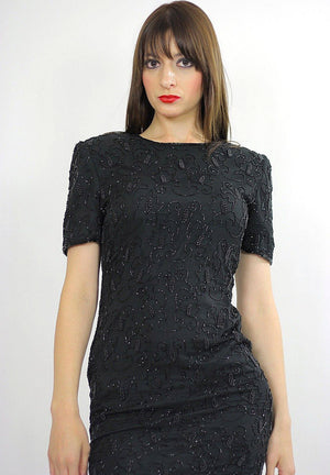 80s Deco Gatsby Black sequin beaded party mini dress S - shabbybabe  - 4