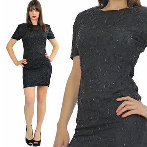 80s Deco Gatsby Black sequin beaded party mini dress S - shabbybabe  - 2