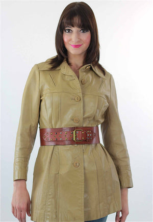Boho hippie brown leather jacket retro trench coat - shabbybabe  - 3