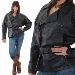 Vintage 80s moto biker jacket motorcycle leather coat - shabbybabe  - 2