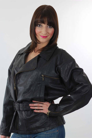 Vintage 80s moto biker jacket motorcycle leather coat - shabbybabe  - 1