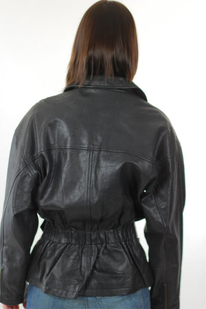 Vintage 80s moto biker jacket motorcycle leather coat - shabbybabe  - 4