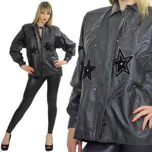 80s Rocker sequin leather jacket Rockstar Black hipster - shabbybabe  - 2
