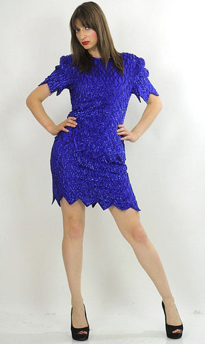 Sequin beaded dress Gatsby dress Deco party dress Boho party dress silk beaded dress party mini dress flapper dress Blue beaded dress M - shabbybabe  - 2