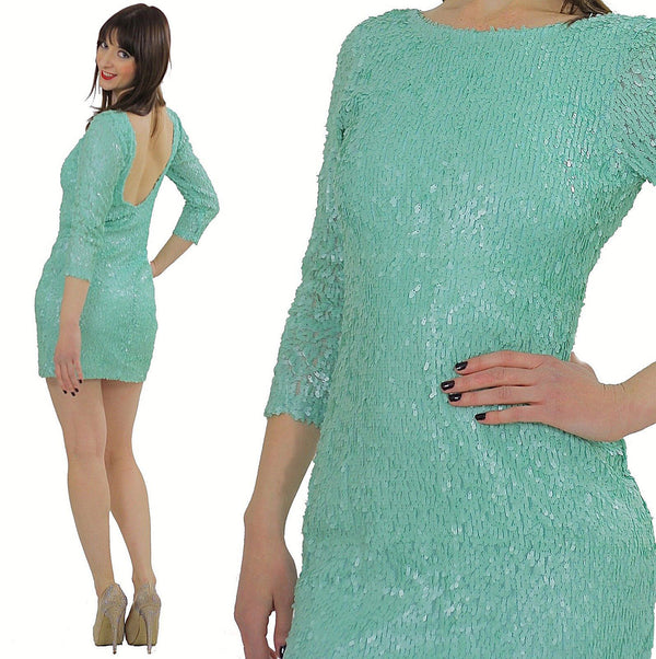 Sequin beaded dress Gatsby dress Deco party dress Boho party dress body con party dress party mini dress flapper dress Blue beaded dress S - shabbybabe  - 1