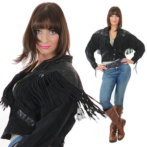 80s Boho Hippie Moto Fringe suede leather jacket - shabbybabe  - 3