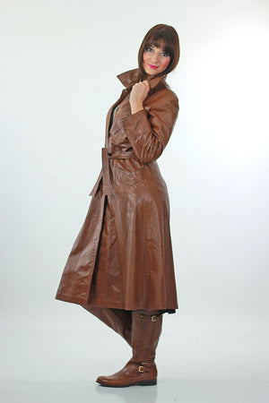 Brown Leather Coat Long wrap Maxi 1970s trench Hippie tie belt Rocker M L - shabbybabe  - 3