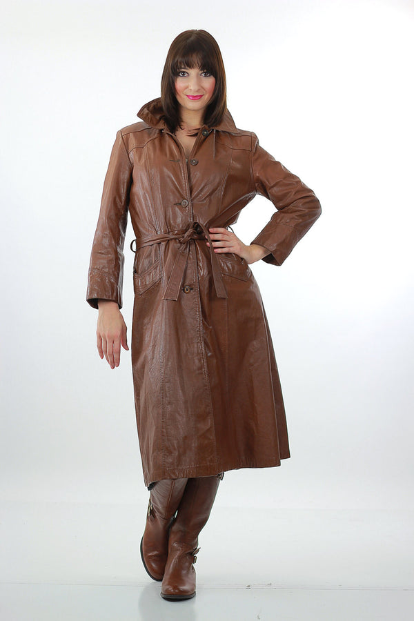 Brown Leather Coat Long wrap Maxi 1970s trench Hippie tie belt Rocker M L - shabbybabe  - 1