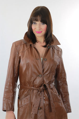 Brown Leather Coat Long wrap Maxi 1970s trench Hippie tie belt Rocker M L - shabbybabe  - 5