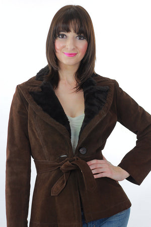 Brown suede leather jacket fur trim boho Hippie belted button up long sleeve blazer M - shabbybabe  - 4