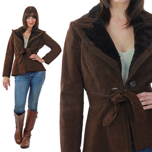 Brown suede leather jacket fur trim boho Hippie belted button up long sleeve blazer M - shabbybabe  - 2