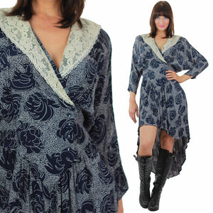 90s floral high low grunge Fishtail navy blue dress - shabbybabe  - 2