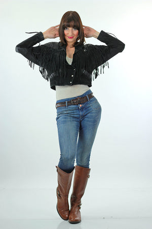 80s Boho Hippie Moto Fringe suede leather jacket - shabbybabe  - 2