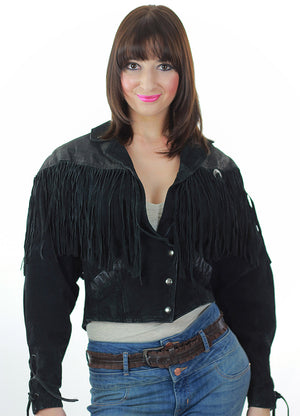 80s Boho Hippie Moto Fringe suede leather jacket - shabbybabe  - 1