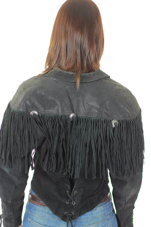 80s Boho Hippie Moto Fringe suede leather jacket - shabbybabe  - 5