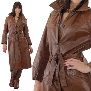Brown Leather Coat Long wrap Maxi 1970s trench Hippie tie belt Rocker M L - shabbybabe  - 2