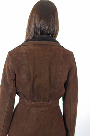 Brown suede leather jacket fur trim boho Hippie belted button up long sleeve blazer M - shabbybabe  - 5