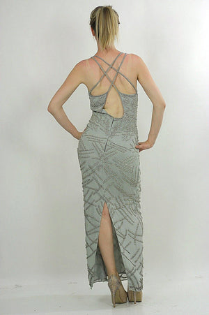 Sequin dress 80s Gatsby Deco party Silk Flapper Open back Silver Metallic Vintage maxi  high slit Medium - shabbybabe  - 3