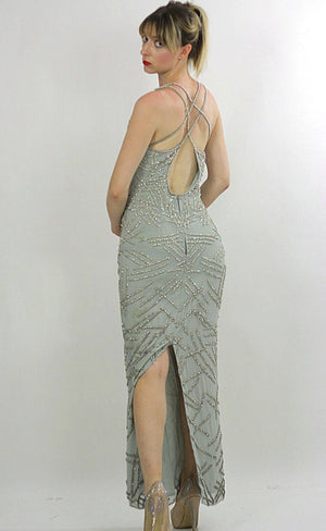 Sequin dress 80s Gatsby Deco party Silk Flapper Open back Silver Metallic Vintage maxi  high slit Medium - shabbybabe  - 5