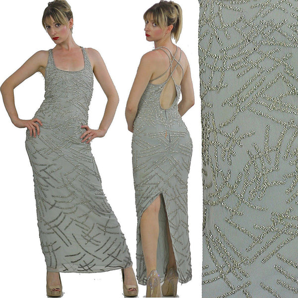 Sequin dress 80s Gatsby Deco party Silk Flapper Open back Silver Metallic Vintage maxi  high slit Medium - shabbybabe  - 1