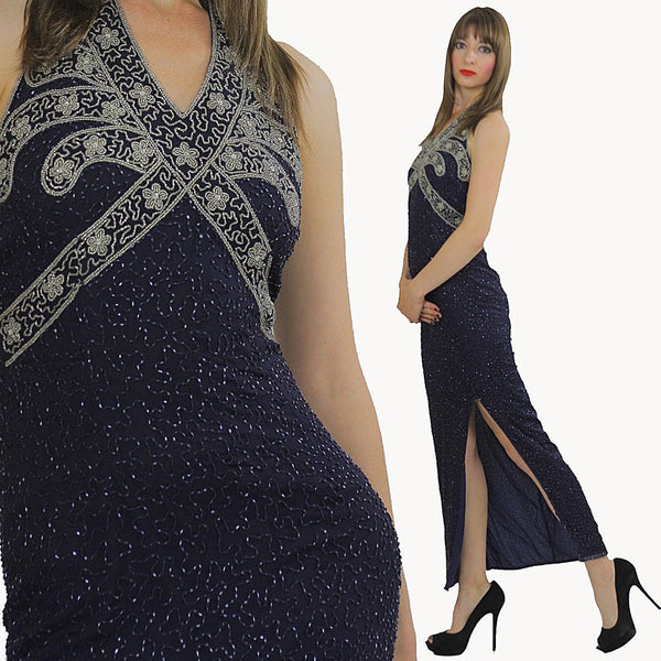 Sequin beaded dress Gatsby Deco party Navy Bohemian Flapper  Halter high slit Open back Small - shabbybabe  - 1