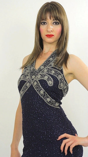 Sequin beaded dress Gatsby Deco party Navy Bohemian Flapper  Halter high slit Open back Small - shabbybabe  - 4