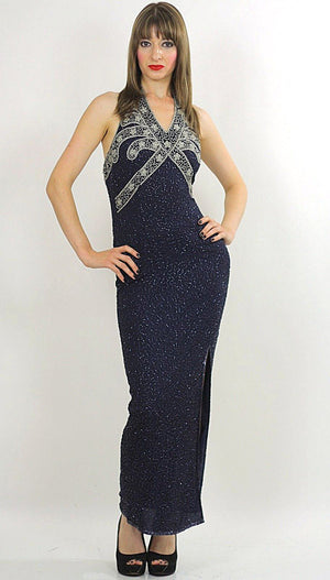 Sequin beaded dress Gatsby Deco party Navy Bohemian Flapper  Halter high slit Open back Small - shabbybabe  - 2