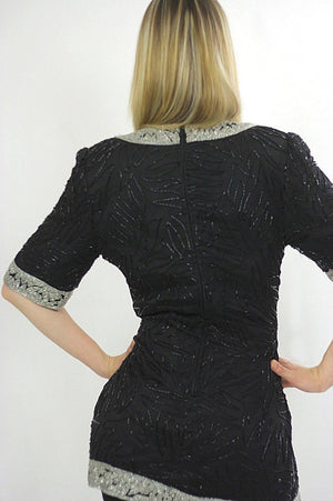 80s black sequin beaded tunic dress Art deco silver metallic Flapper - shabbybabe  - 5