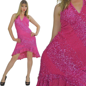 Pink sequin dress Deep V plunging halter fishtail Flapper deco Vintage 1980s Stripe ruffle Medium - shabbybabe  - 1