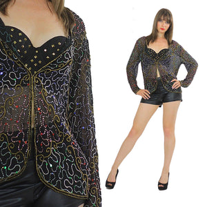 Sequin top beaded Black Gold metallic party Gatsby Sheer Cocktail party Long sleeve sweetheart neckline Medium - shabbybabe  - 1
