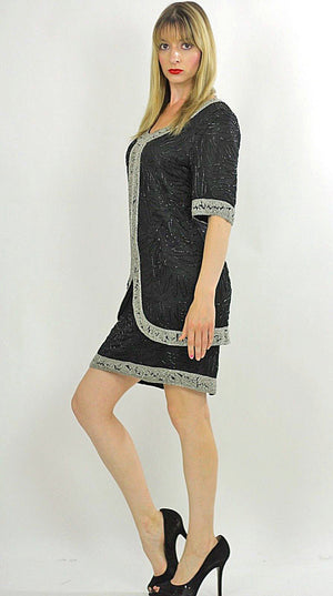 80s black sequin beaded tunic dress Art deco silver metallic Flapper - shabbybabe  - 3