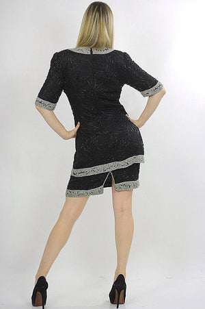 80s black sequin beaded tunic dress Art deco silver metallic Flapper - shabbybabe  - 4