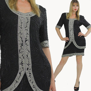 80s black sequin beaded tunic dress Art deco silver metallic Flapper - shabbybabe  - 1
