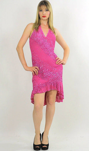Pink sequin dress Deep V plunging halter fishtail Flapper deco Vintage 1980s Stripe ruffle Medium - shabbybabe  - 2
