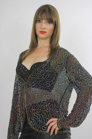 Sequin top beaded Black Gold metallic party Gatsby Sheer Cocktail party Long sleeve sweetheart neckline Medium - shabbybabe  - 3