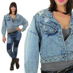 Studded denim jacket 80s Acid Wash Cropped denim blue jean slouchy Vintage 80s rocker Medium - shabbybabe  - 2