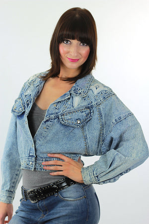 Studded denim jacket 80s Acid Wash Cropped denim blue jean slouchy Vintage 80s rocker Medium - shabbybabe  - 1