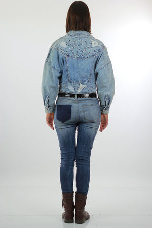 Studded denim jacket 80s Acid Wash Cropped denim blue jean slouchy Vintage 80s rocker Medium - shabbybabe  - 4