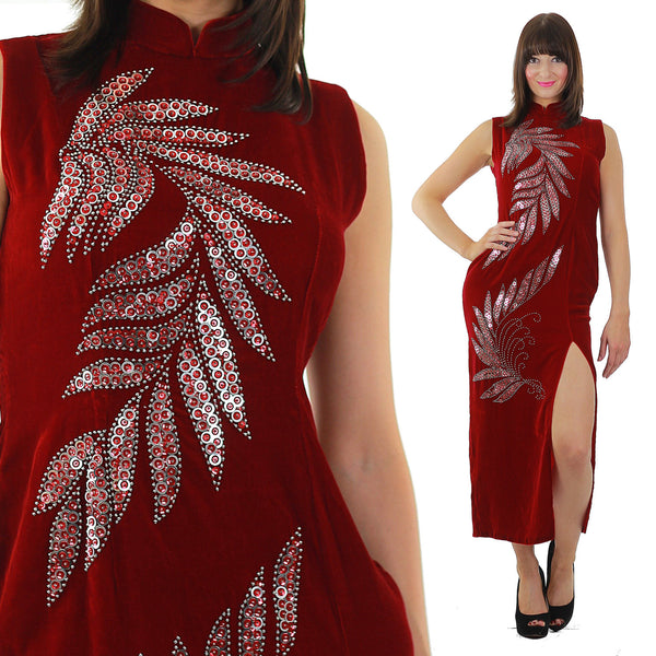 Red velvet  dress Sequin studded velvet maxi dress High slit velvet Cocktail party dress velvety high neck L - shabbybabe  - 1