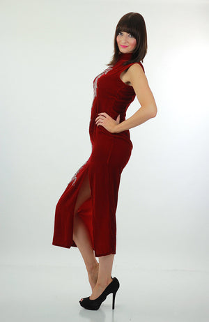 Red velvet  dress Sequin studded velvet maxi dress High slit velvet Cocktail party dress velvety high neck L - shabbybabe  - 3