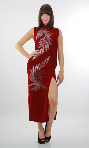 Red velvet  dress Sequin studded velvet maxi dress High slit velvet Cocktail party dress velvety high neck L - shabbybabe  - 2