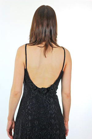 90s Black lace grunge goth spaghetti strap open back slip dress Medium - shabbybabe  - 5