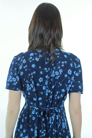 90s Grunge  blue floral midi dress high waist short sleeve - shabbybabe  - 5
