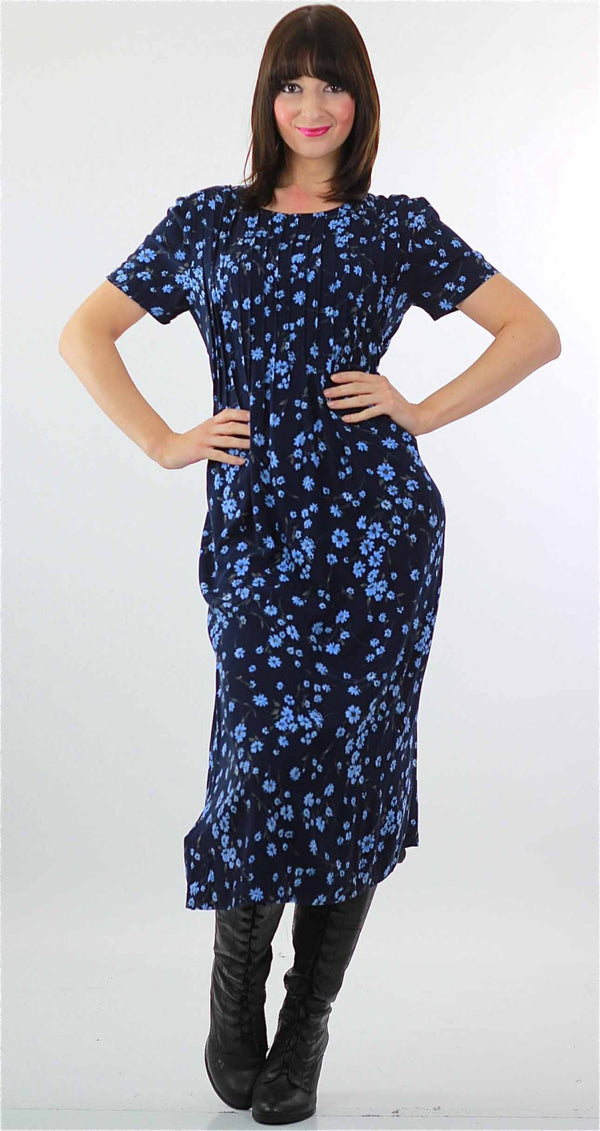 90s Grunge  blue floral midi dress high waist short sleeve - shabbybabe  - 1